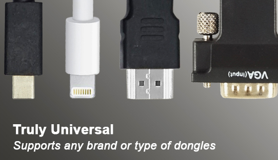 Truly Universal - Supports any brand or type of dongles