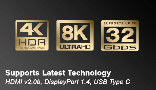 Supports Latest Technology - HDMI v2.0b, DisplayPort 1.4, USB Type C